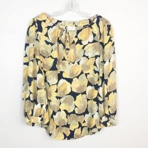 Meadow Rue Anthropologie floral blouse navy yellow